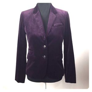 Size 4 J. Crew Purple Velvet Blazer  Jacket